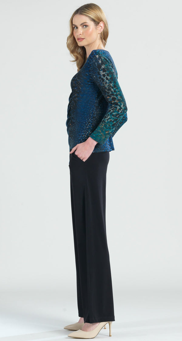 Animal Print Ruched Side Sweater Top - Green Multi - Final Sale! - Clara Sunwoo