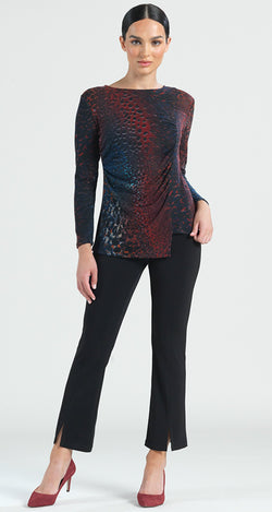Animal Print Ruched Side Sweater Top - Merlot Multi - Final Sale! - Clara Sunwoo