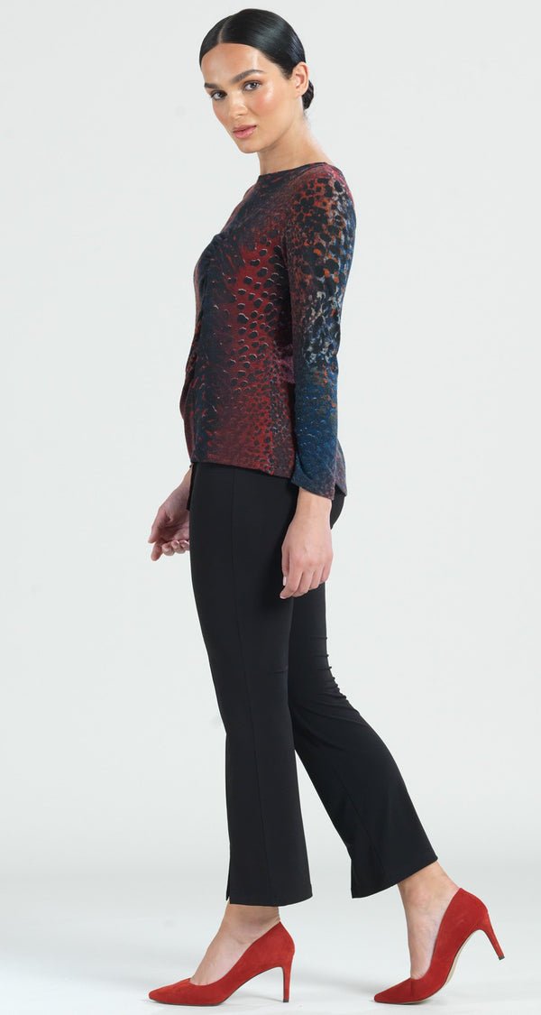 Animal Print Ruched Side Sweater Top - Merlot Multi - Clara Sunwoo