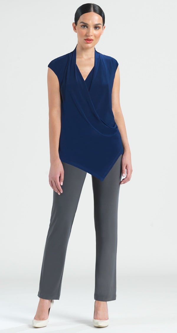 Cap Sleeve Drape Blouse Tank  - Navy - Limited Sizes! - Clara Sunwoo