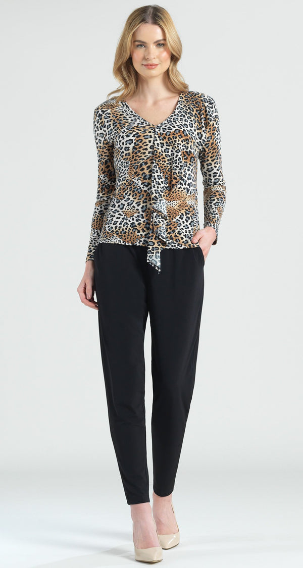 Cheetah Print Cascade Drape Top - Final Sale! - Clara Sunwoo