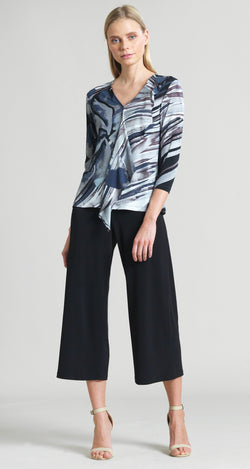 Abstract Floral Stripe Cascade Drape Top - Black/Taupe