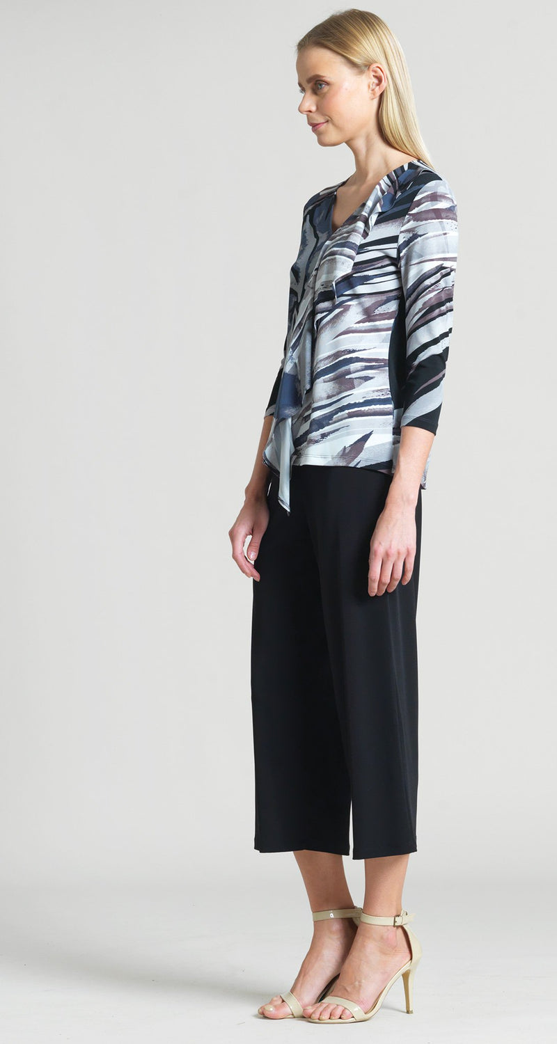 Abstract Floral Stripe Cascade Drape Top - Black/Taupe - Clara Sunwoo