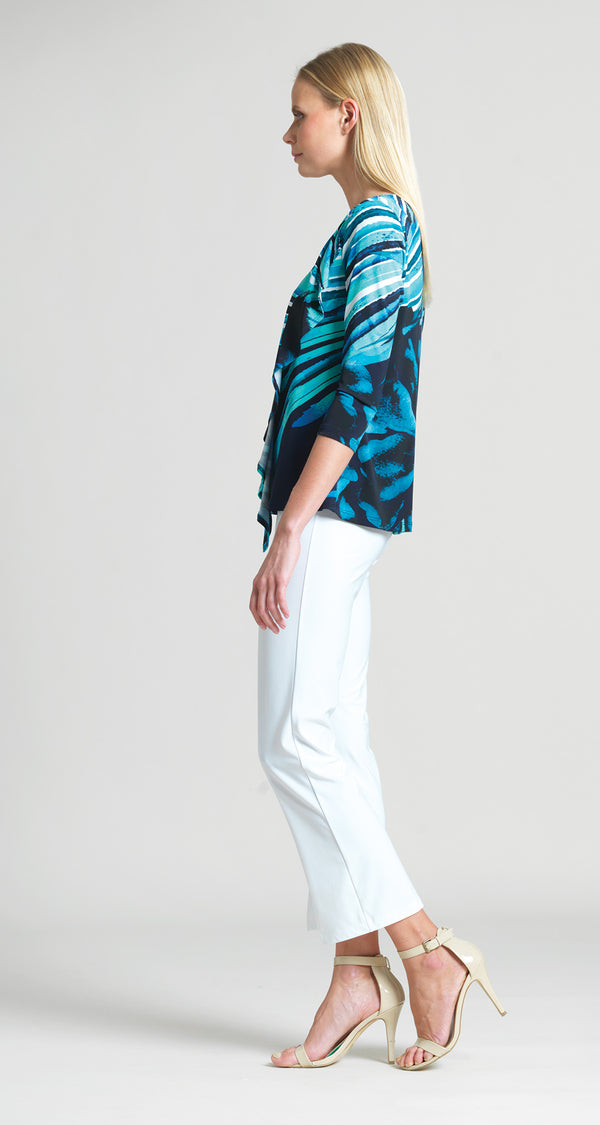 Abstract Floral Stripe Cascade Drape Top - Turquoise/Navy