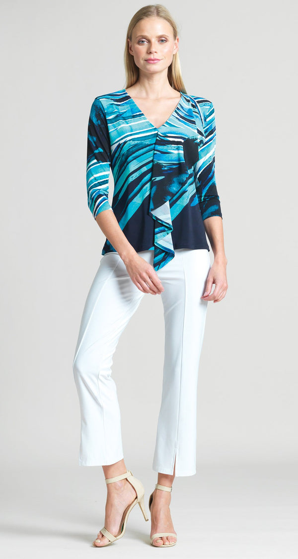 Abstract Floral Stripe Cascade Drape Top - Turquoise/Navy - Clara Sunwoo