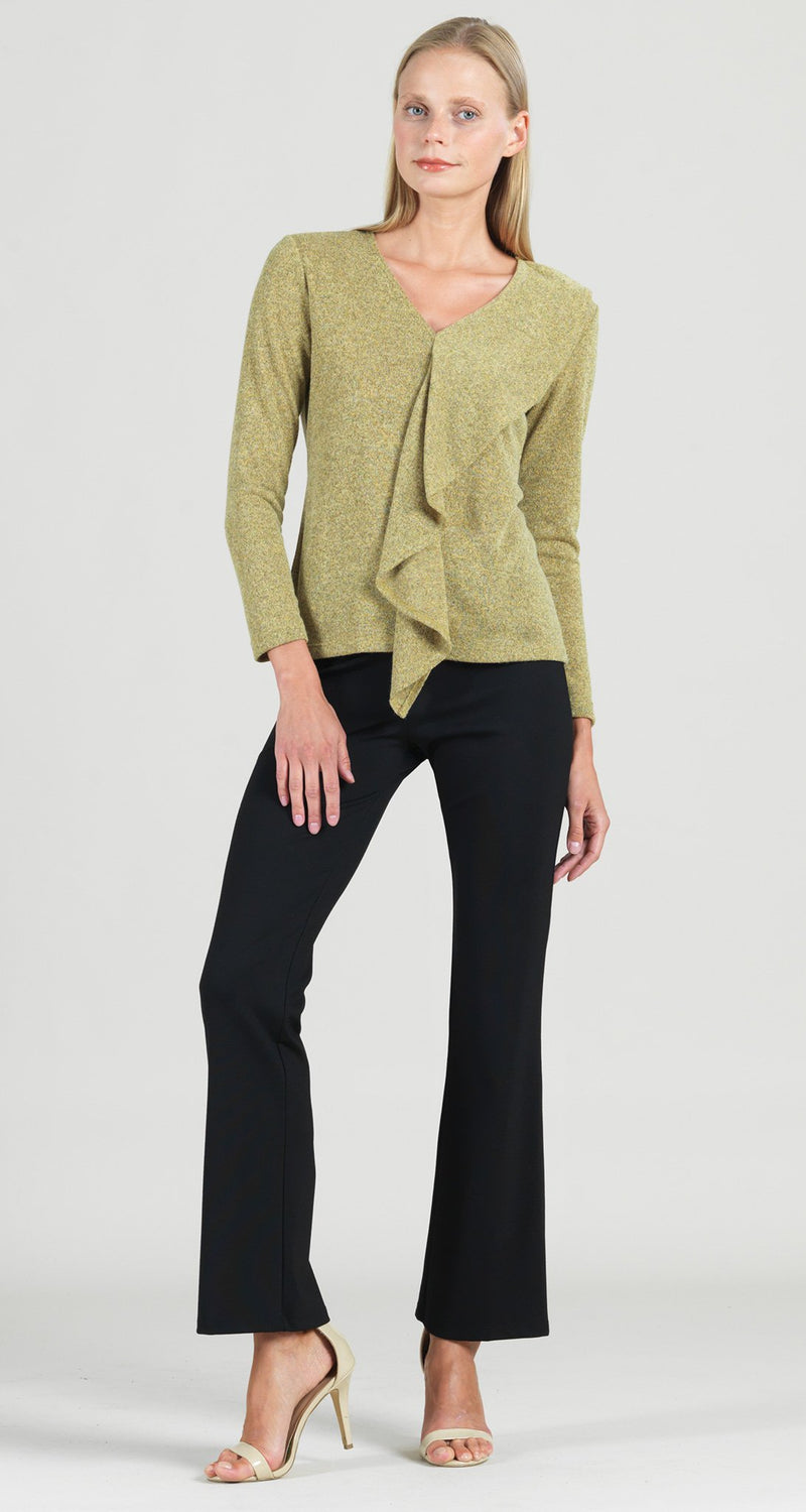 Cozy Cascade Drape Sweater Top - Moss