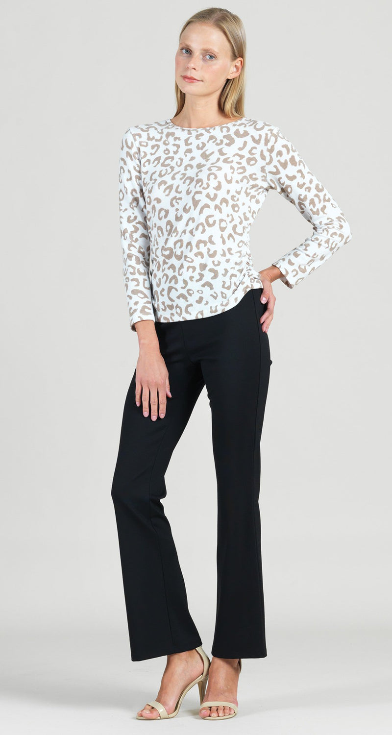 Cozy Animal Print Side Ruched Sweater Top