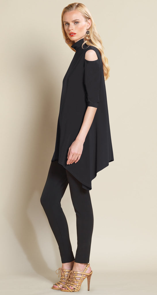 Mock Neck Open Shoulder Tunic - Solid