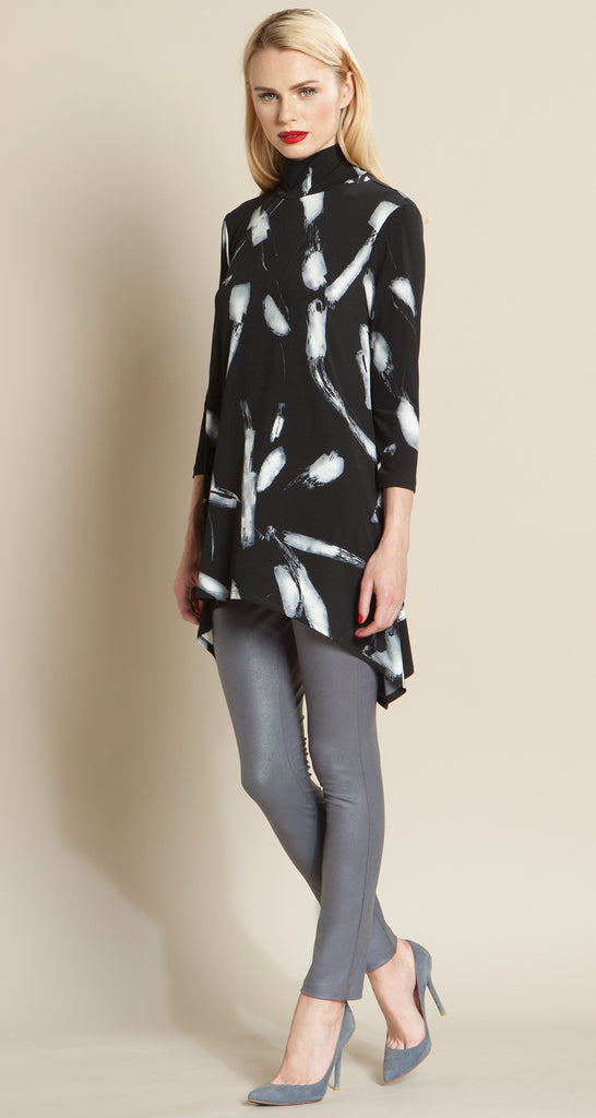 Feather Print Mock Neck Tunic