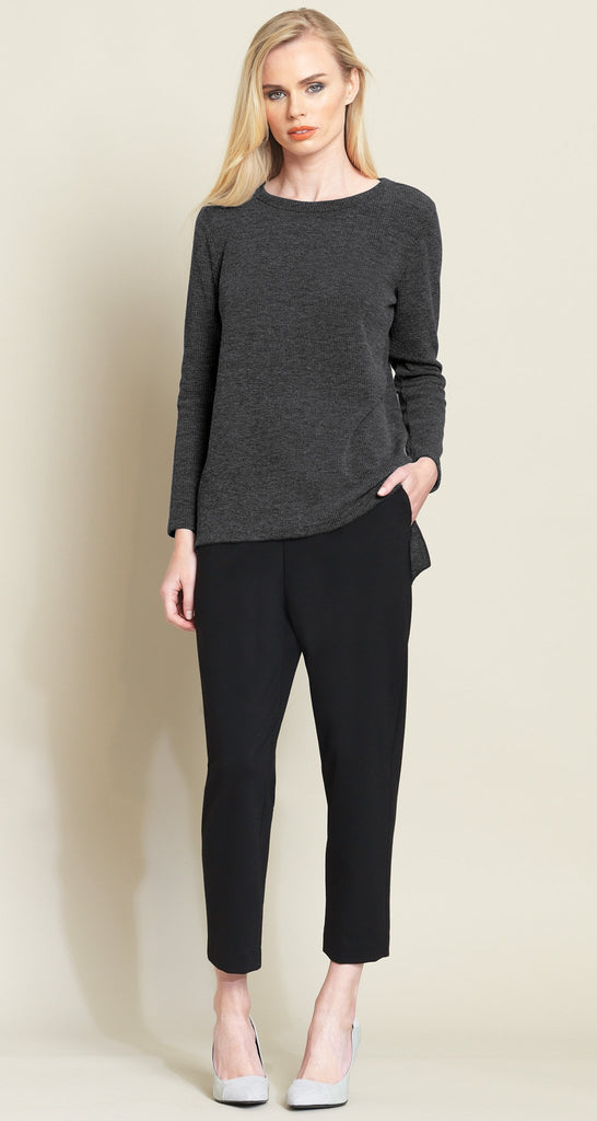 Ribbed High-Low Sweater Top - Grey - Final Sale!