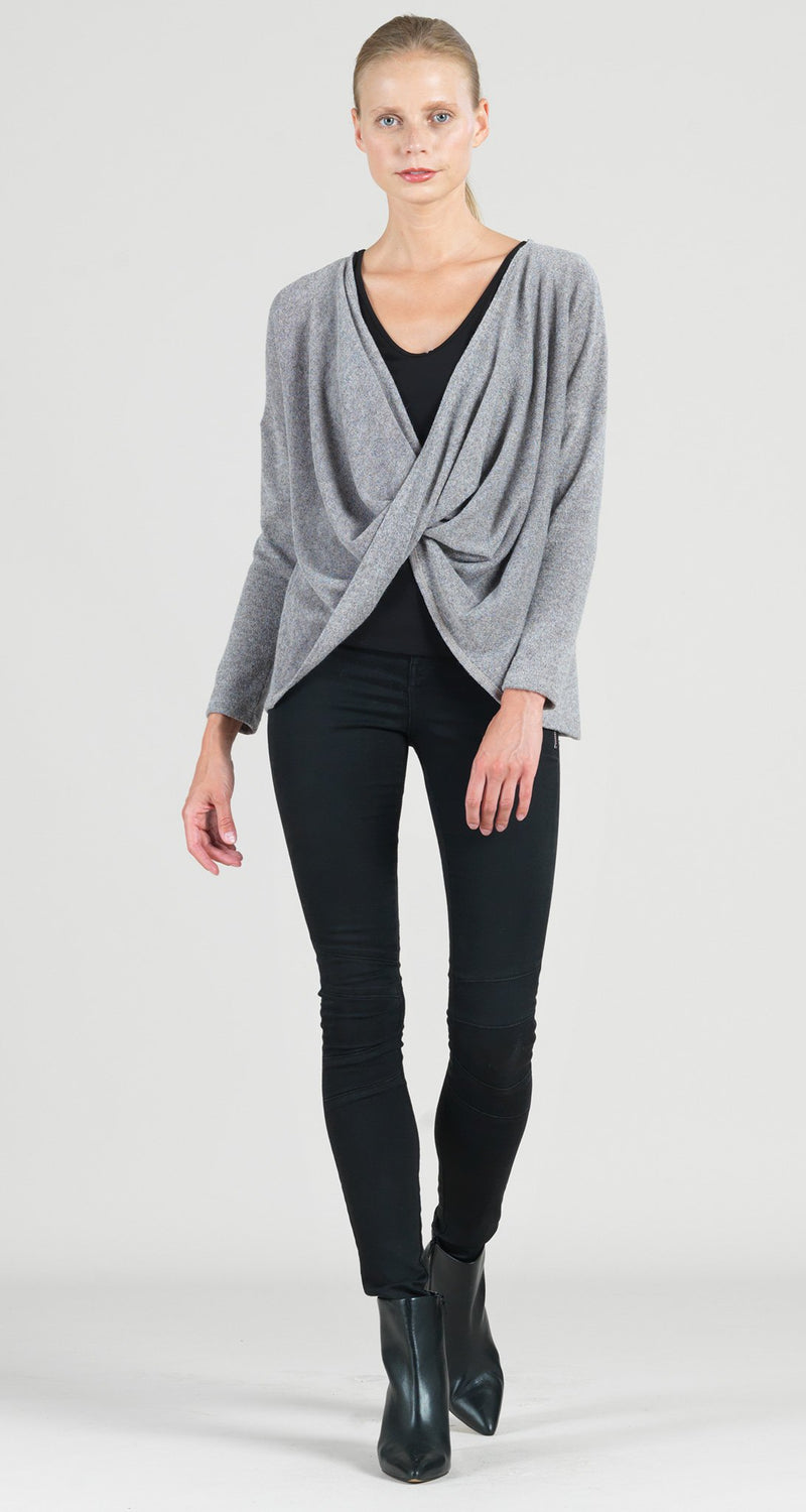 Cozy Crossover Under Loop Overlay Sweater Top - Sand