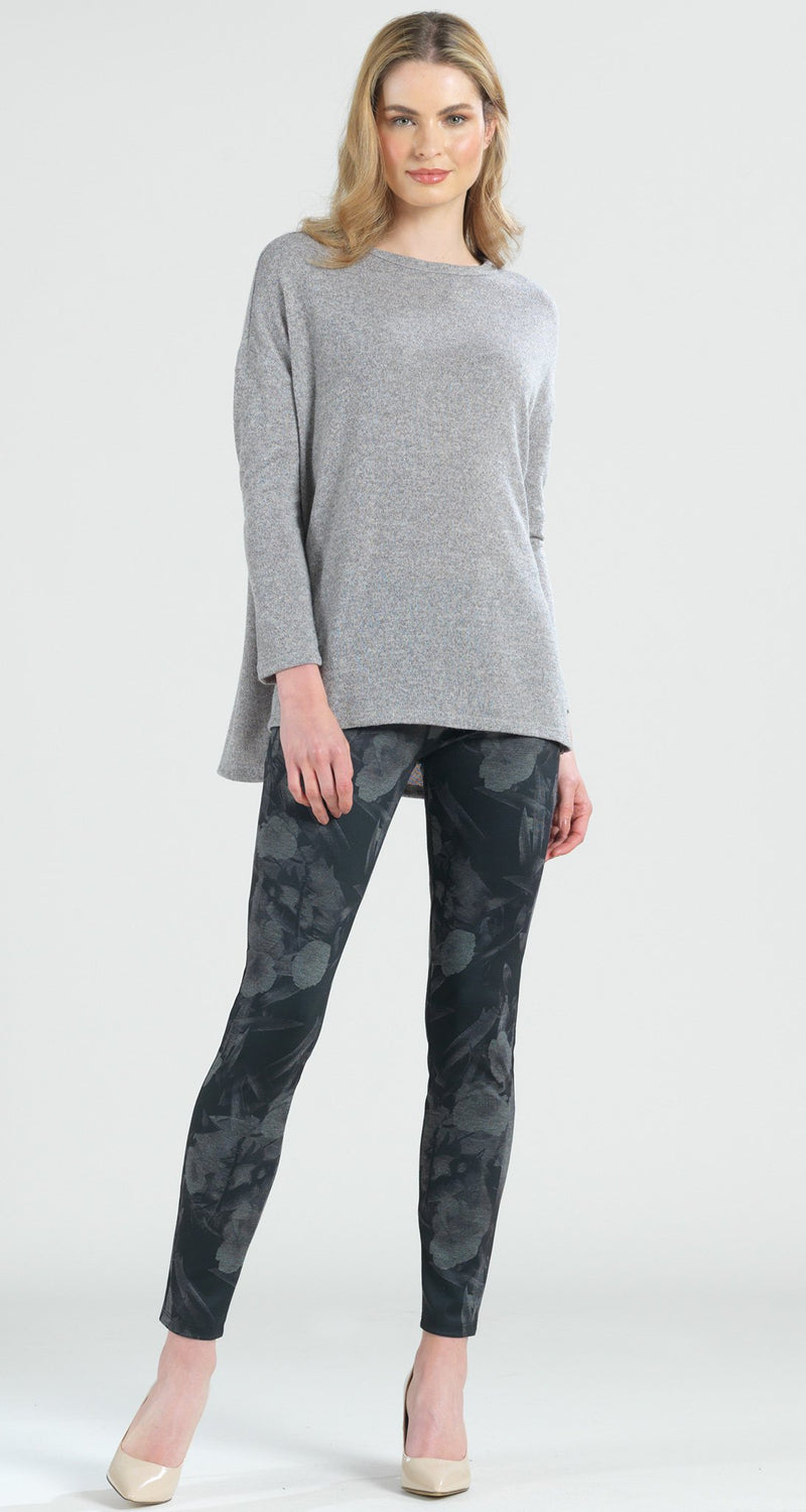 Ponte Floral Flash Print Slim Legging - Grey - Final Sale! - Clara Sunwoo