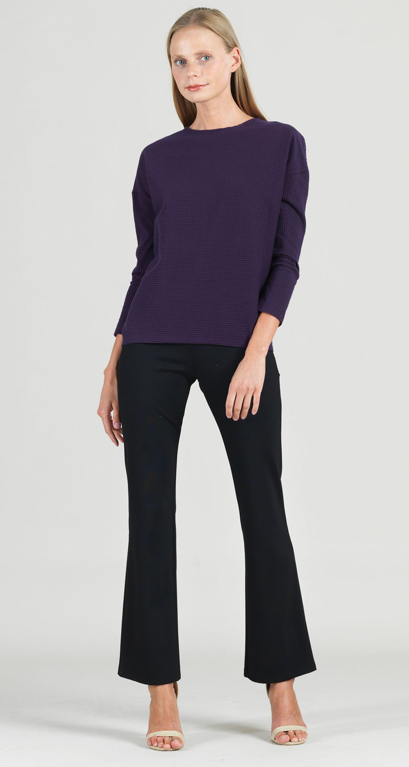 Ribbed Sweater Top - Eggplant