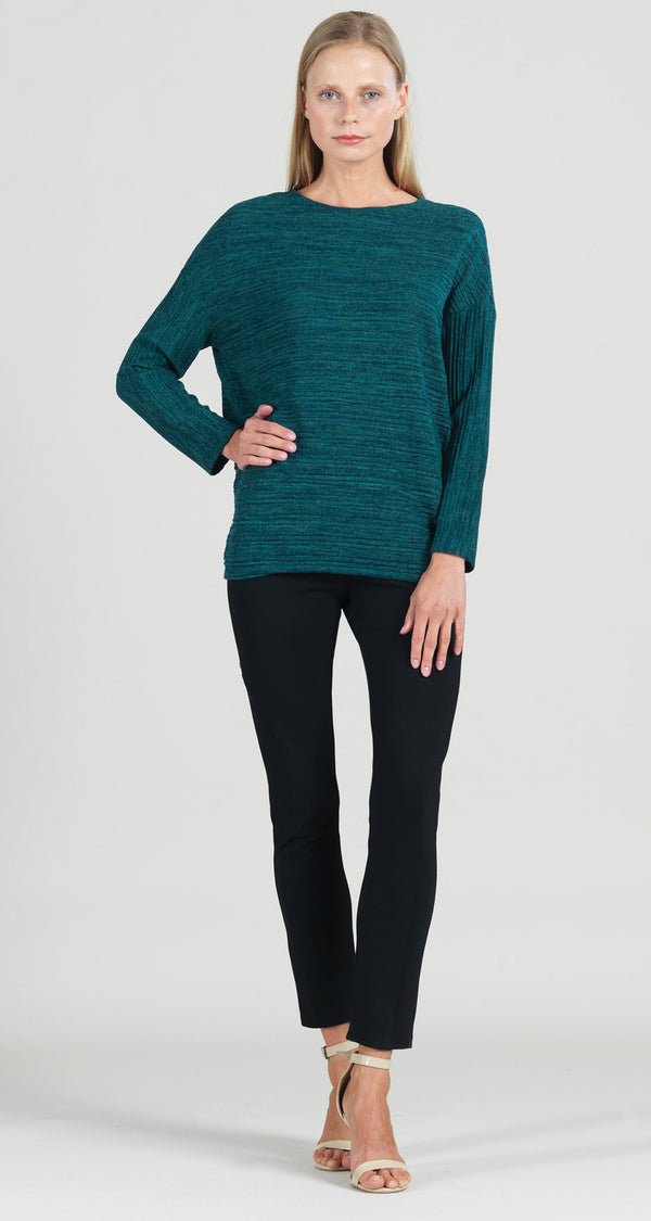 Soft Open Ribbed Sweater Top - Hunter Green