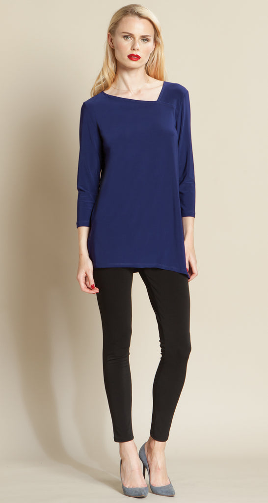Angle Neckline Side Vent Tunic - Navy - Final Sale