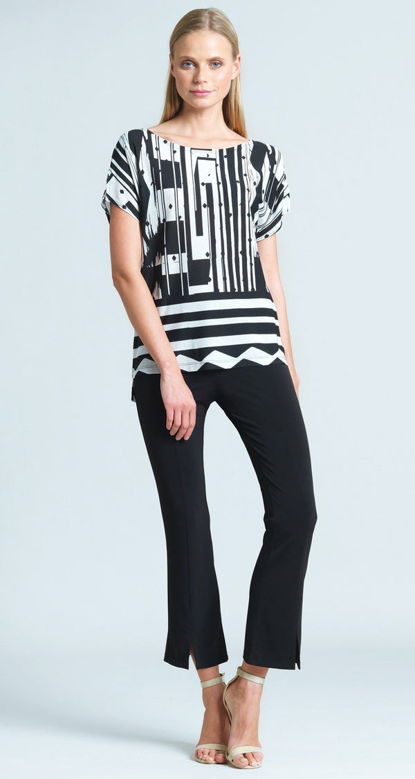 Piano Stripe Gauze Print Soft Knit Short Sleeve Top
