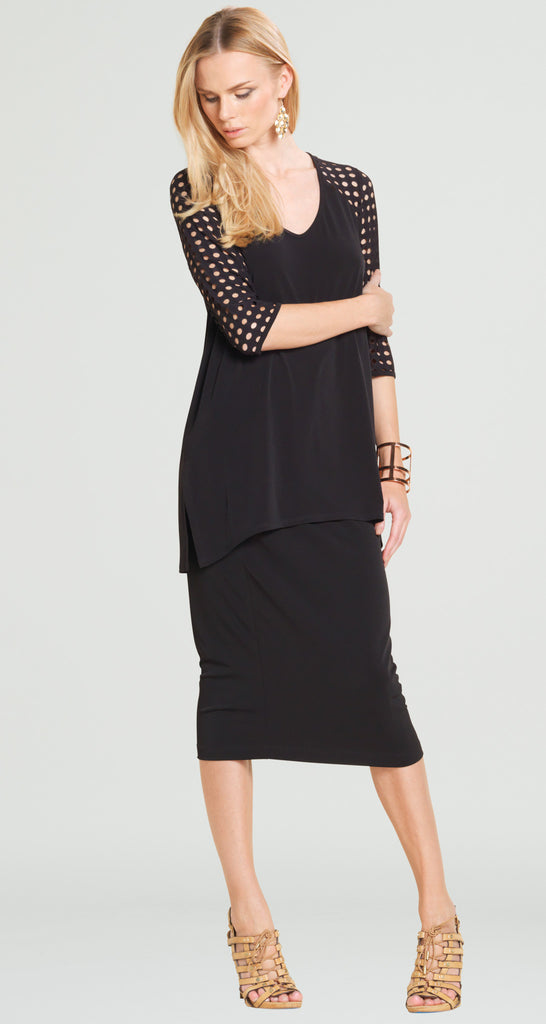 Perforated Sleeve Tunic - Black