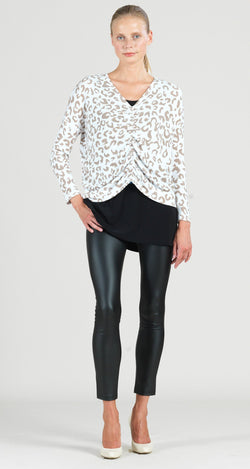Cozy Animal Print Center Ruched Sweater Top