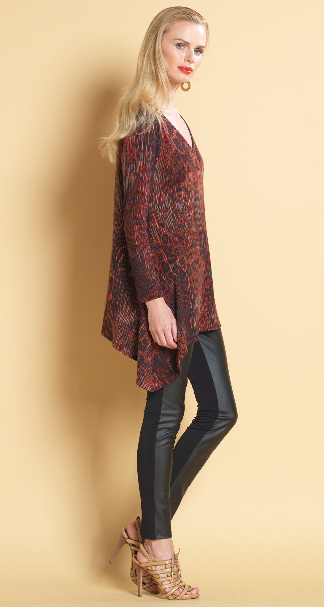 Animal Print V-Neck Sweater Tunic - Clara Sunwoo