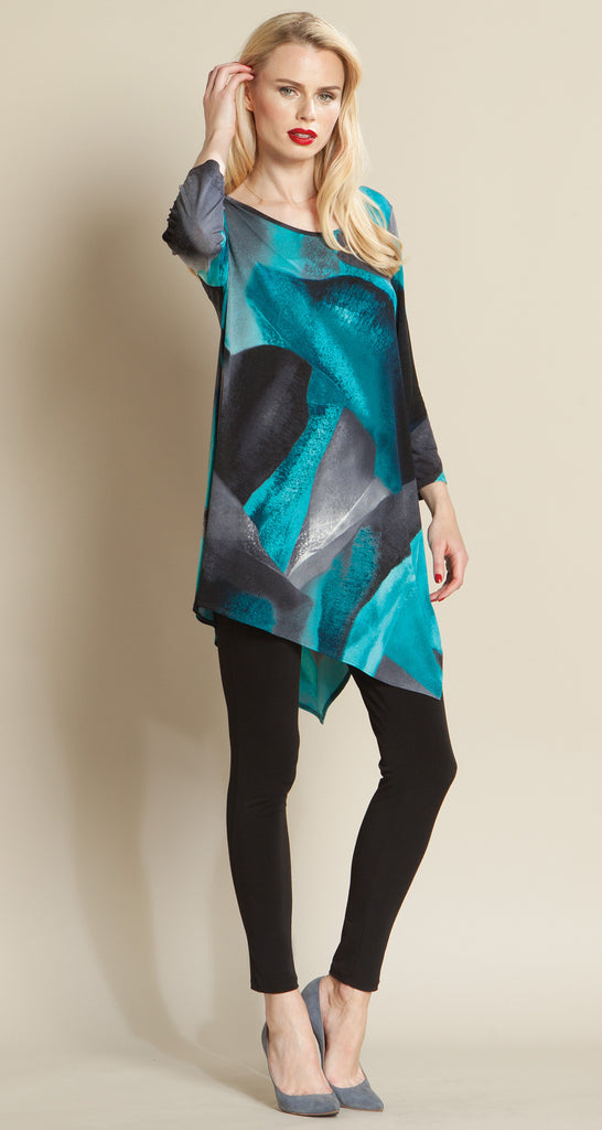 Watercolor Boulder Print Angle Hem Tunic