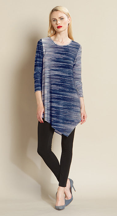 Stripe Two Tone Angle Hem Tunic - Final Sale