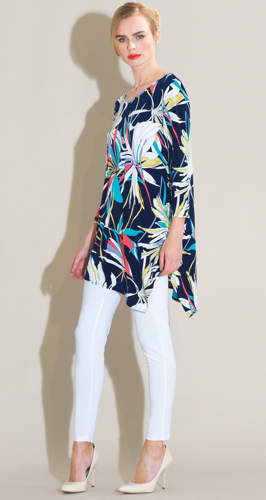 Orchid Print Angle Hem Kerchief Tunic - Navy Multi - Final Sale!