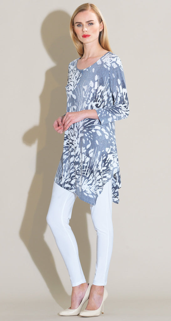 Floral Starburst Print Angle Hem Kerchief Tunic - White/Black - As Seen on Today Show!