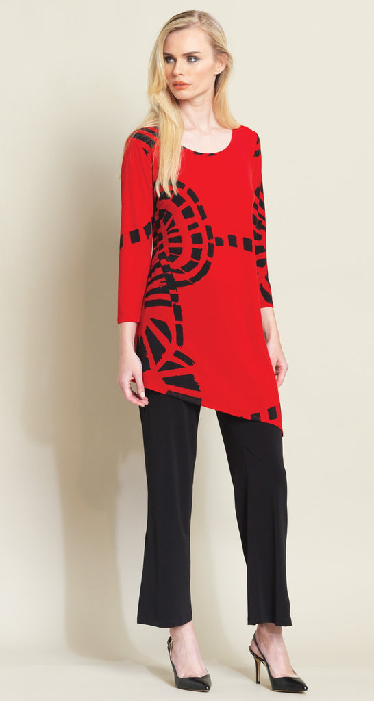 Track Print Angle Hem Tunic - Red/Black