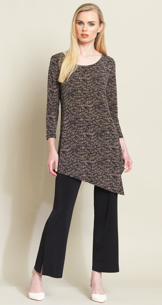 Pine Needle Print Angle Hem Tunic - Black/Copper