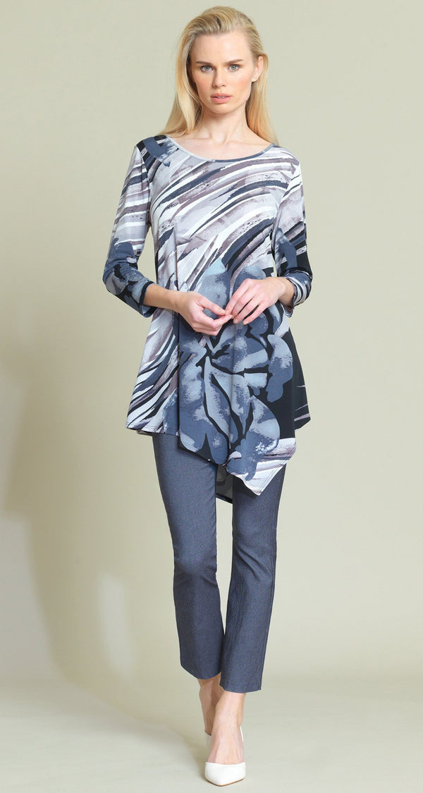 a3edb94e14eb9f Floral Abstract Print Angle Hem Tunic - Black Taupe -Featured on Today Show!
