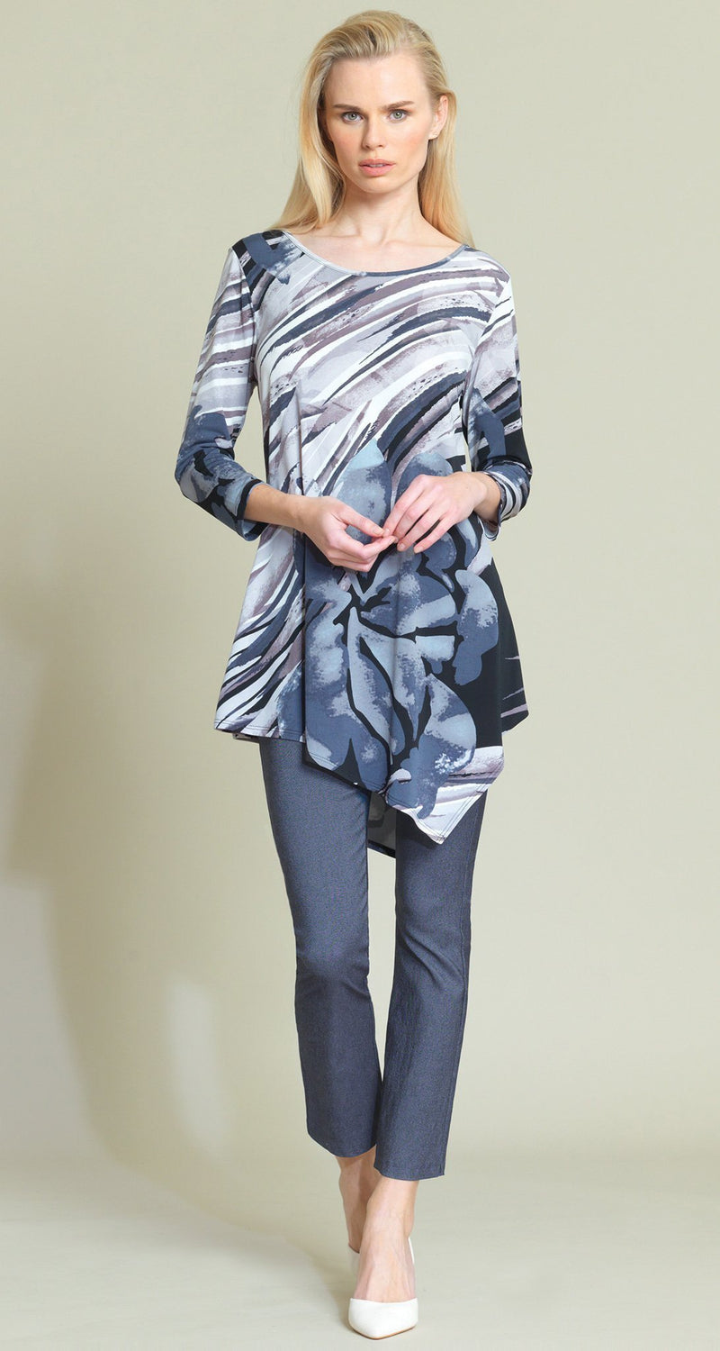 Floral Abstract Print Angle Hem Tunic - Black/Taupe - Clara Sunwoo