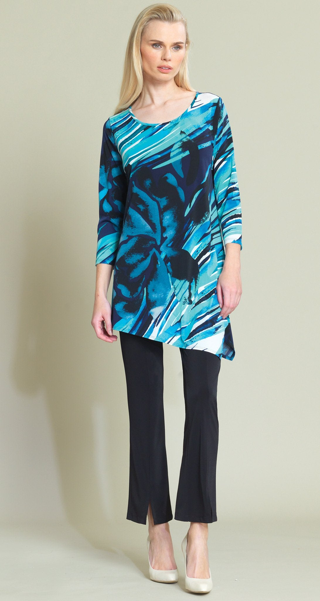 Floral Abstract Print Angle Hem Tunic - Navy/Turquoise - Clara Sunwoo