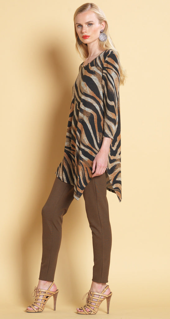 Zebra Print Angle Hem Sweater Tunic - Brown - Final Sale!