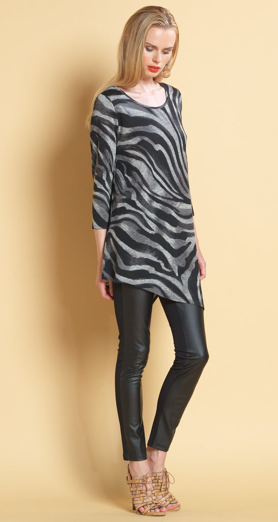 Zebra Print Angle Hem Sweater Tunic - Grey - Final Sale!