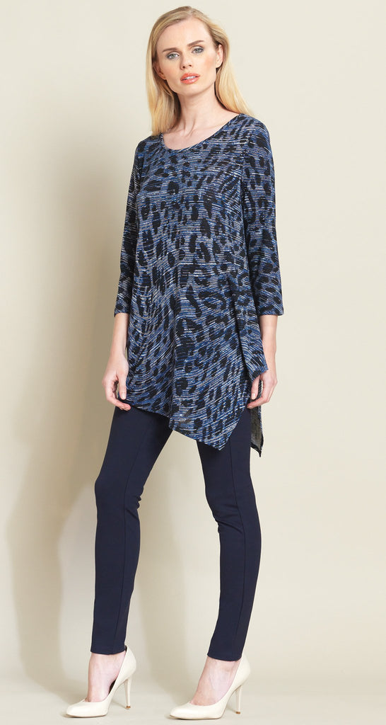 Animal Wave Print Angle Hem Sweater Tunic - Blue
