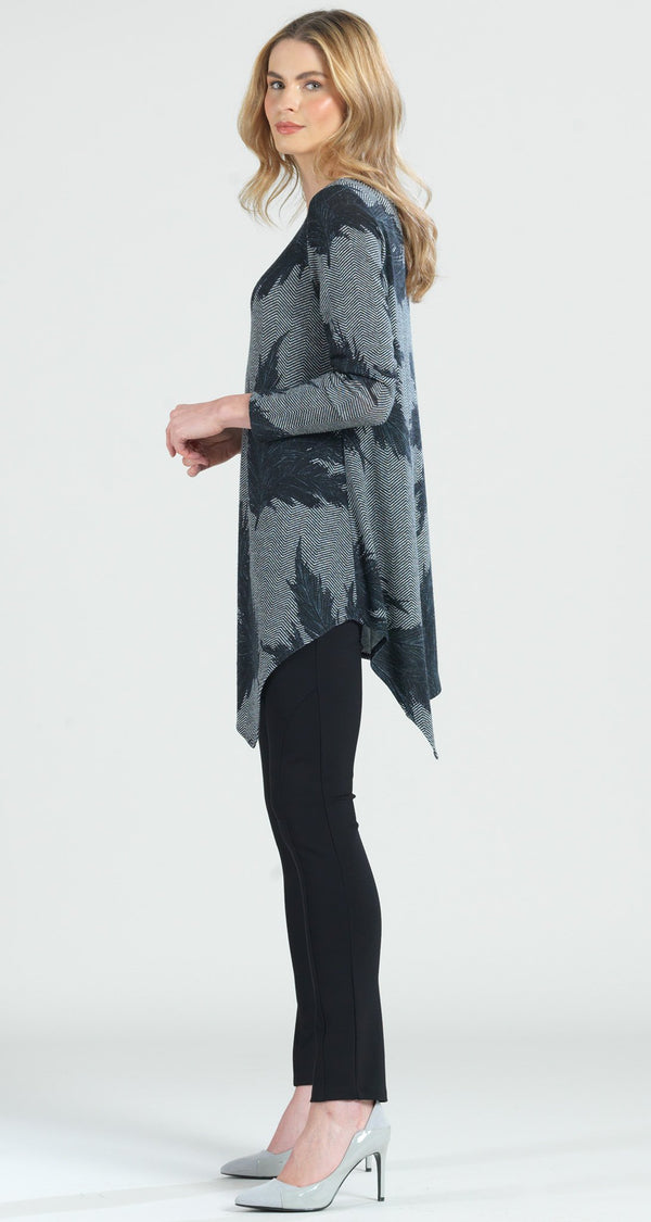 Feather Print Kerchief Angle Hem Sweater Tunic - Final Sale! - Clara Sunwoo