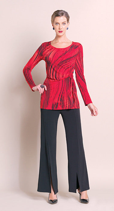 Faux Side Wrap Tunic - Red - Final Sale!