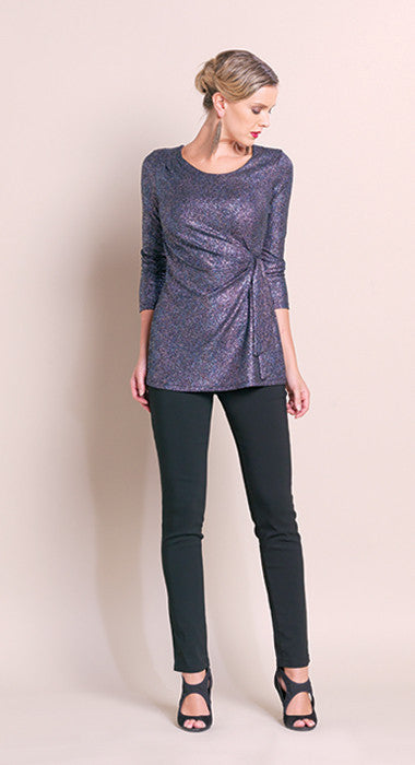 Faux Side Wrap Glitter Tunic - Jewel Blue - Final Sale!