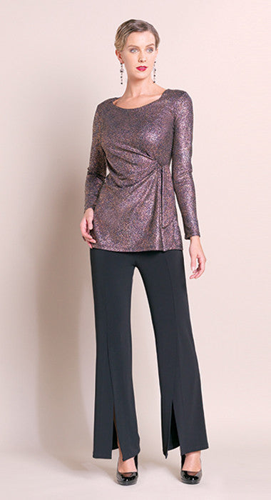 Faux Side Wrap Glitter Tunic - Jewel Copper - Final Sale!