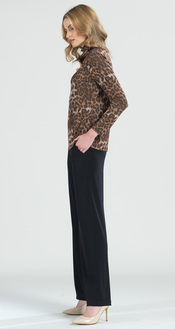 Cheetah Print Mock Neck Front Cut Out Top - Final Sale! - Clara Sunwoo