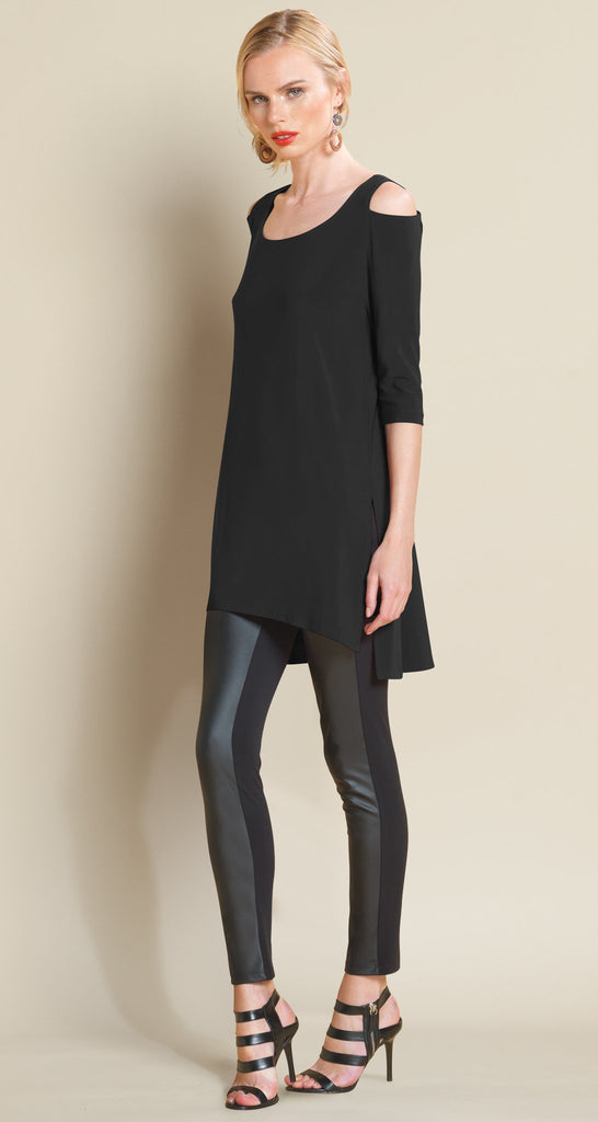 Open Shoulder High-Low Tunic - Black