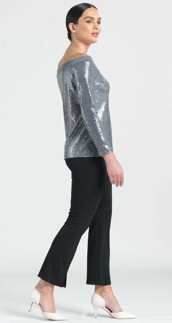 Shimmer Off Shoulder Top - Silver - Limited Sizes S, L & XL Only!