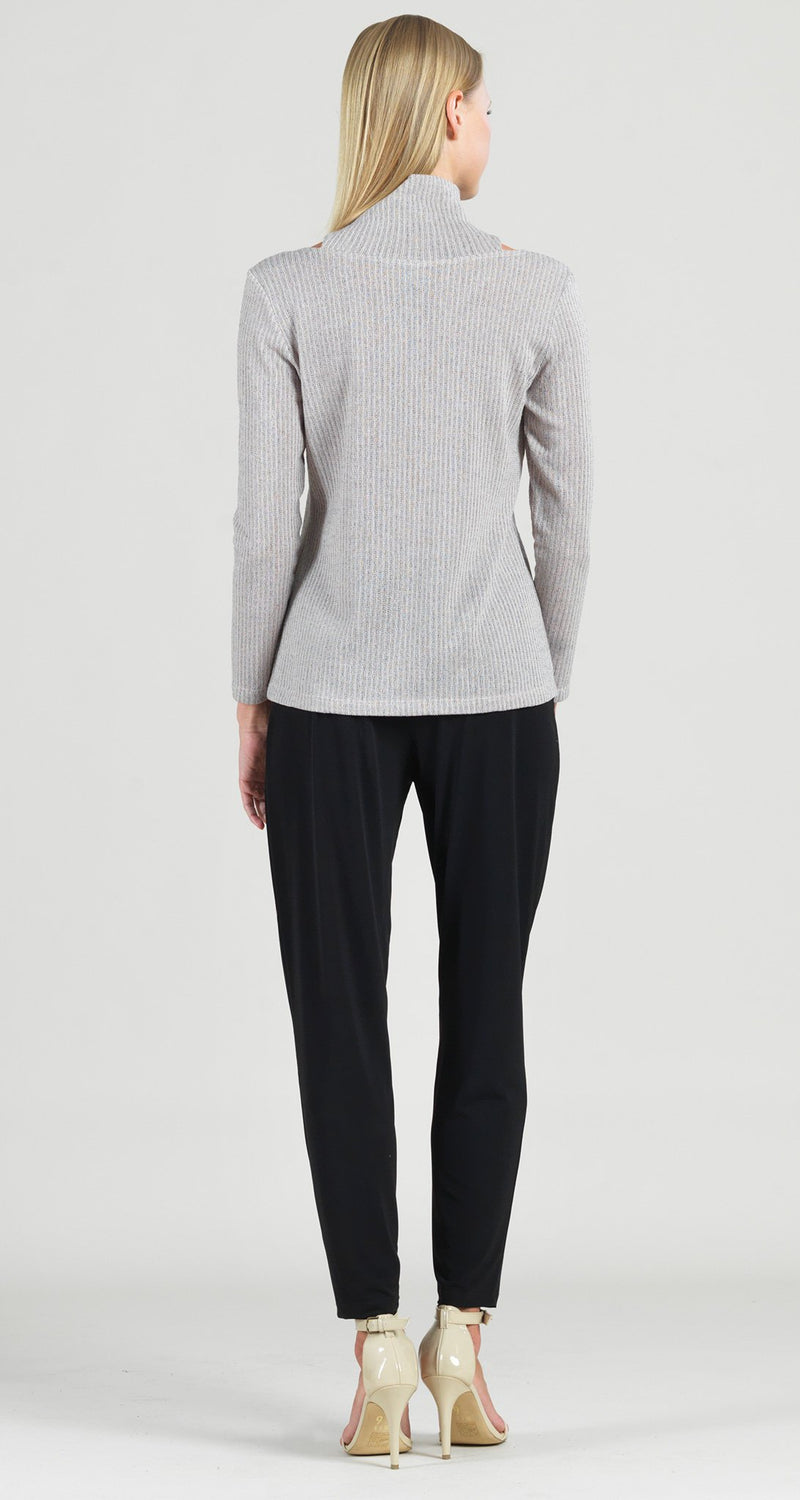 Ribbed Mock Neck Cut Out Sweater Top - Oatmeal - Limited Sizes!