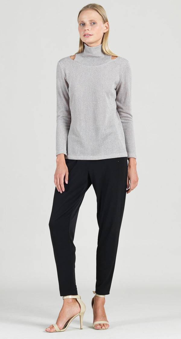 Ribbed Mock Neck Cut Out Sweater Top - Oatmeal -  Final Sale!