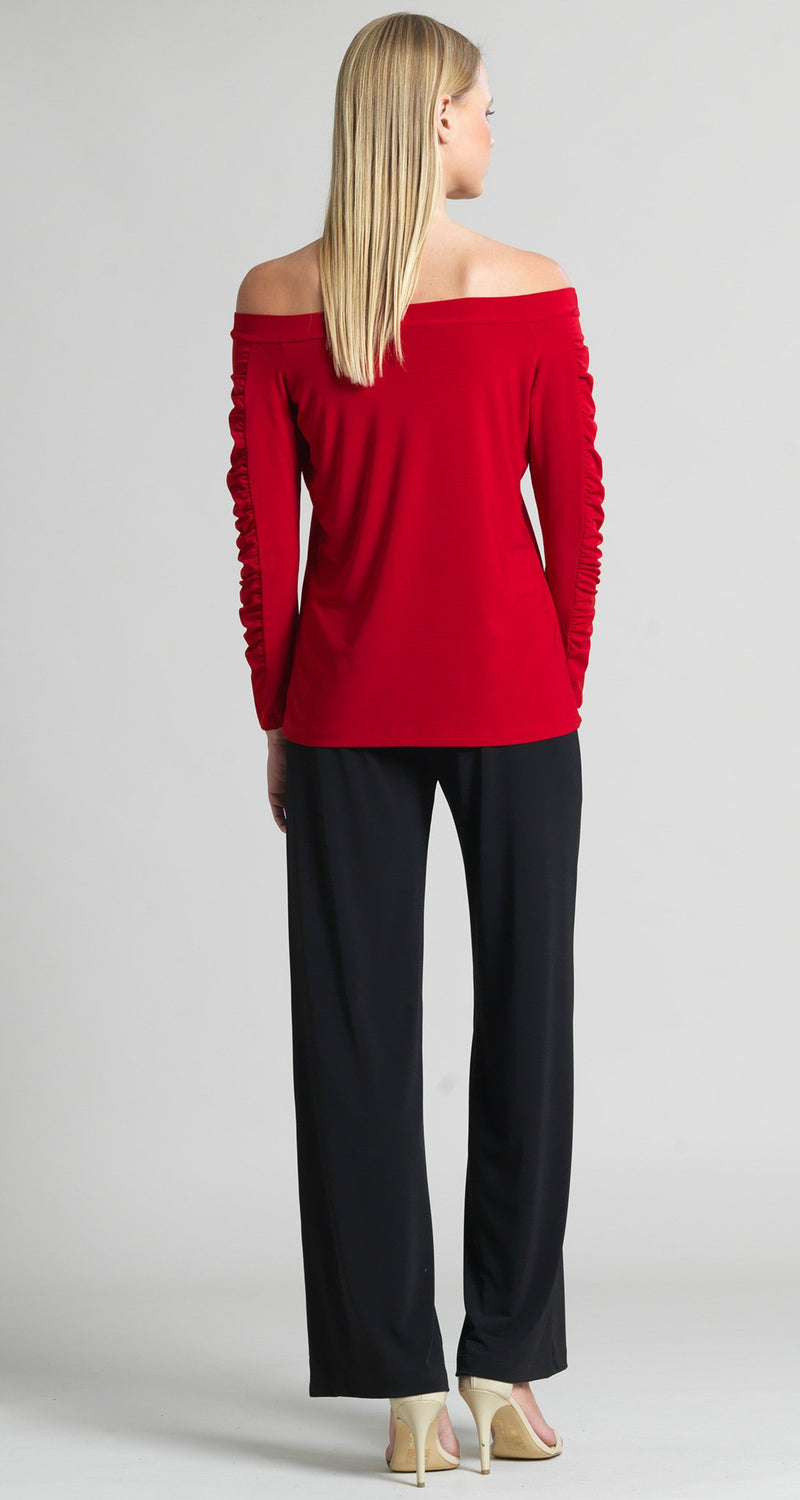 Off Shoulder Ruched Sleeve Top - Red