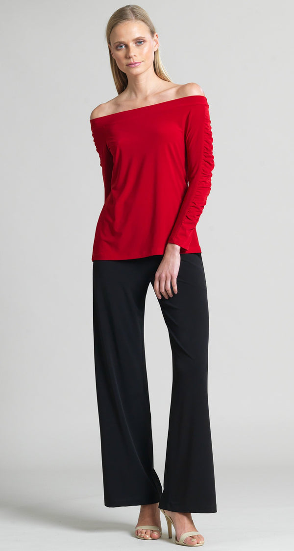 Off Shoulder Ruched Sleeve Top - Red - Final Sale! - Clara Sunwoo
