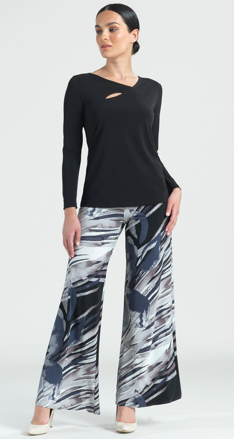 Floral Abstract Print Palazzo Pant - Black/Taupe - Clara Sunwoo