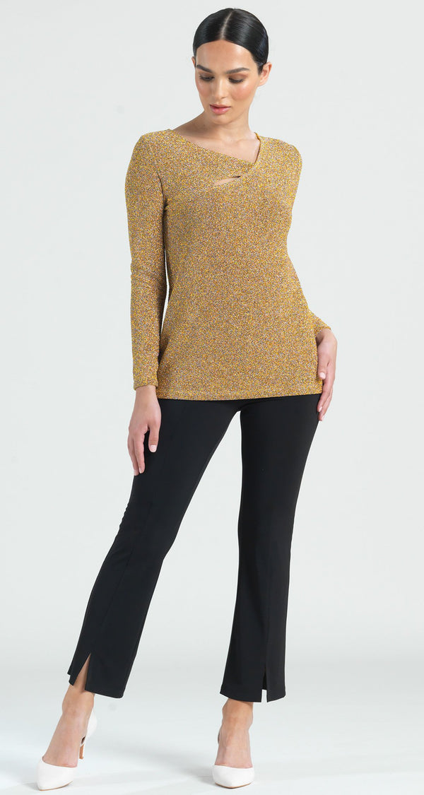 Shimmer Angle Neckline Cut Out Accent Top - Gold