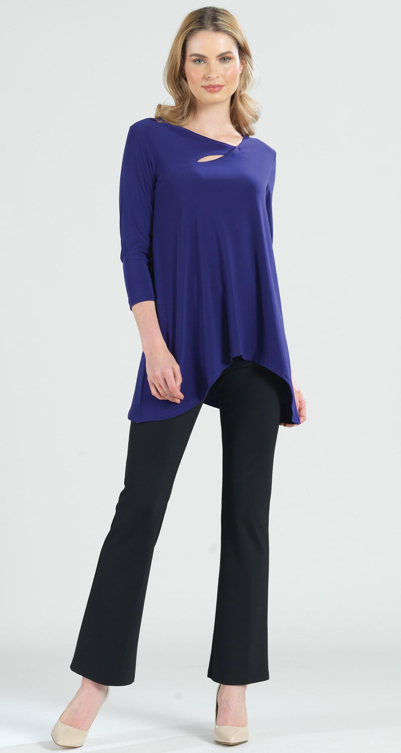 Angle Neckline Cut Out Accent Tunic - Purple -  Final Sale! - Clara Sunwoo
