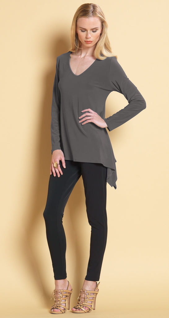 Side Flow V-Neck Top - Charcoal - Final Sale!